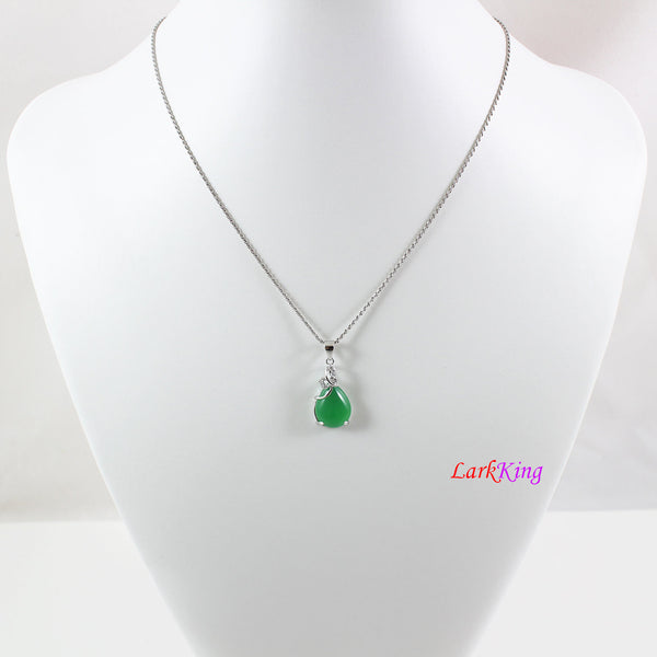 Sterling silver natural jade necklace, butterfly emerald jade necklace, jade  teardrop pendant, silver butterfly jade  necklace, LK11008