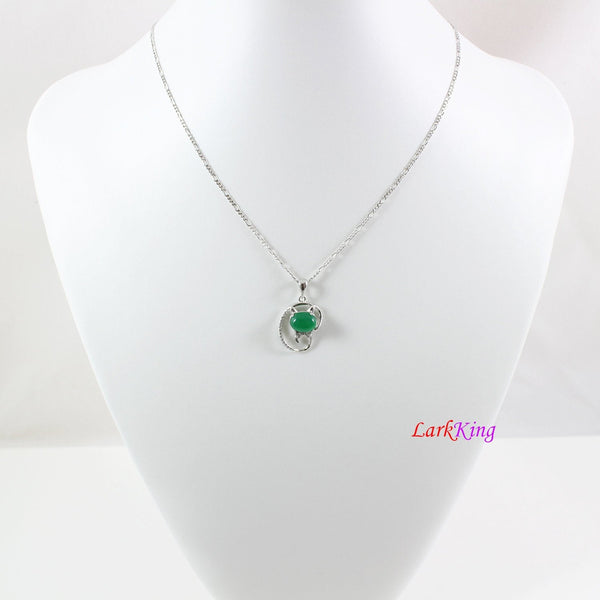 Sterling silver natural jade necklace, emerald jade kitty necklace, green oval jade  pendant, silver CZ and jade cat necklace, LK11010