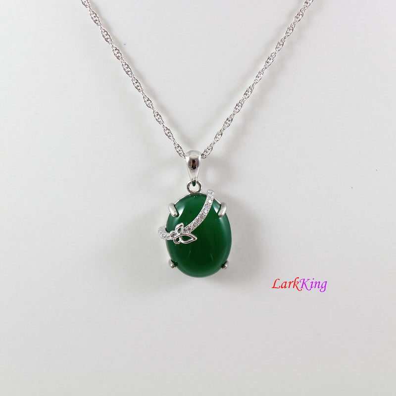 Sterling silver natural jade necklace, emerald jade butterfly necklace, green oval jade pendant, silver CZ jade butterfly necklace, LK11012