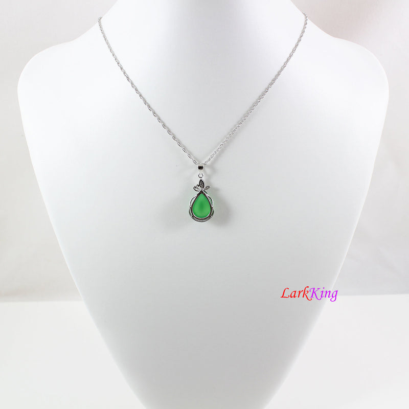 Sterling silver natural jade necklace, butterfly jade necklace, green jade  teardrop pendant, silver butterfly jade  necklace, LK11014