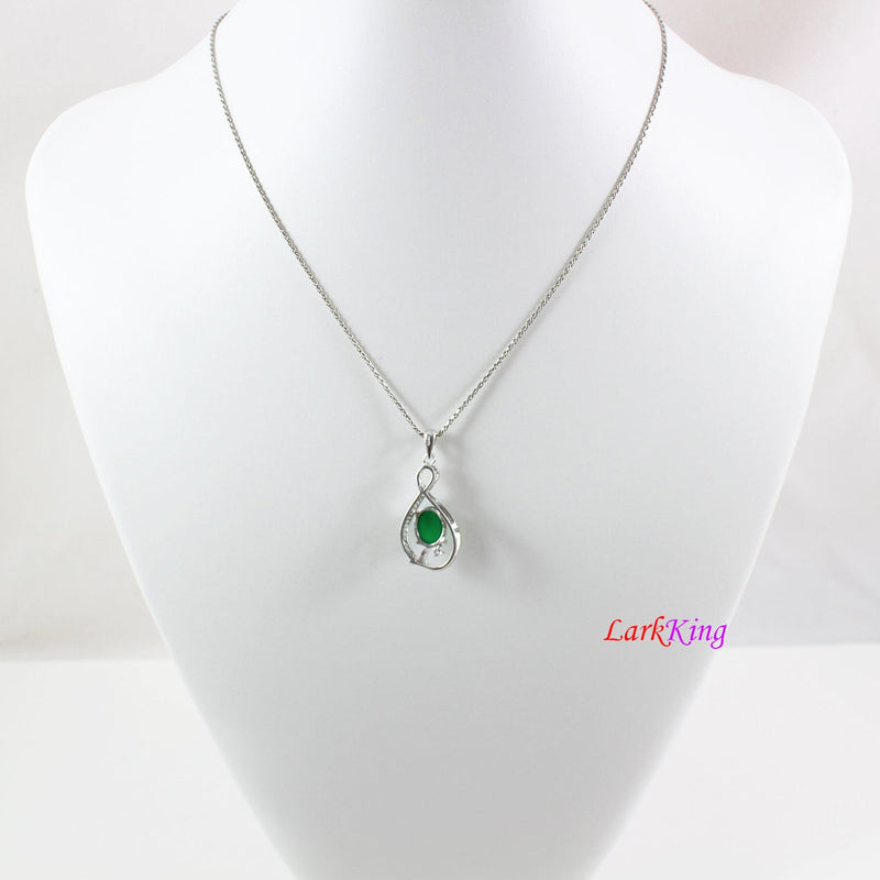 Sterling silver natural jade necklace, infinity emerald jade necklace, CZ & jade  infinity pendant, infinity oval jade necklace, LK11015