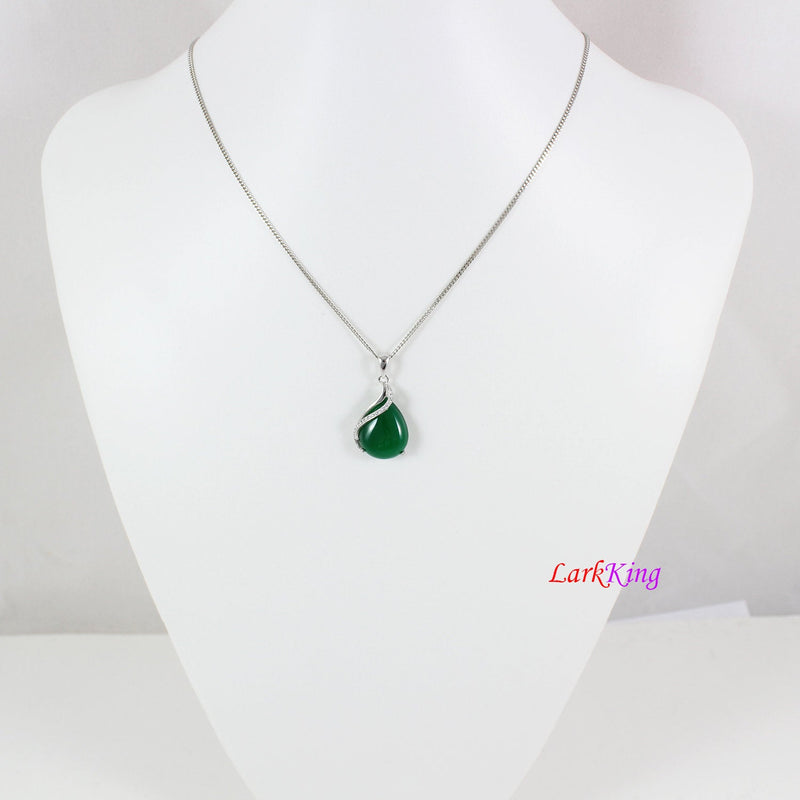 Sterling silver natural jade necklace, emerald jade teardrop necklace, silver CZ & jade teardrop pendant, teardrop jade jewelry, LK11023