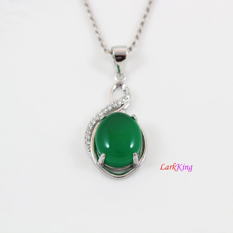 Sterling silver natural emerald jade necklace, infinity CZ and jade necklace, oval jade pendant, silver infinity jade necklace, LK11026