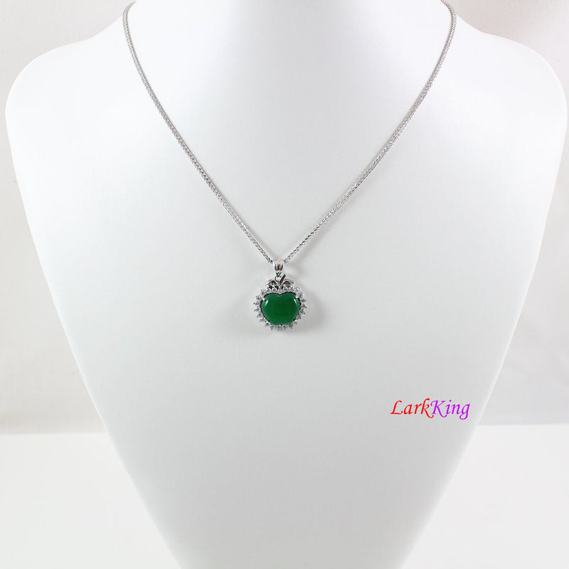 Sterling silver natural jade necklace, big apple jade necklace, CZ and jade apple pendant, silver apple emerald jade jewelry, LK11006