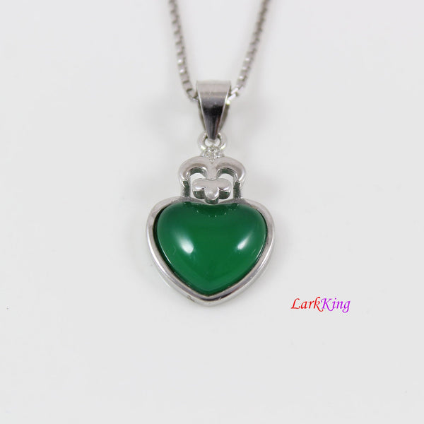 Sterling silver natural jade necklace, small emerald jade heart necklace, green jade  heart pendant, silver heart jade  necklace, LK11025