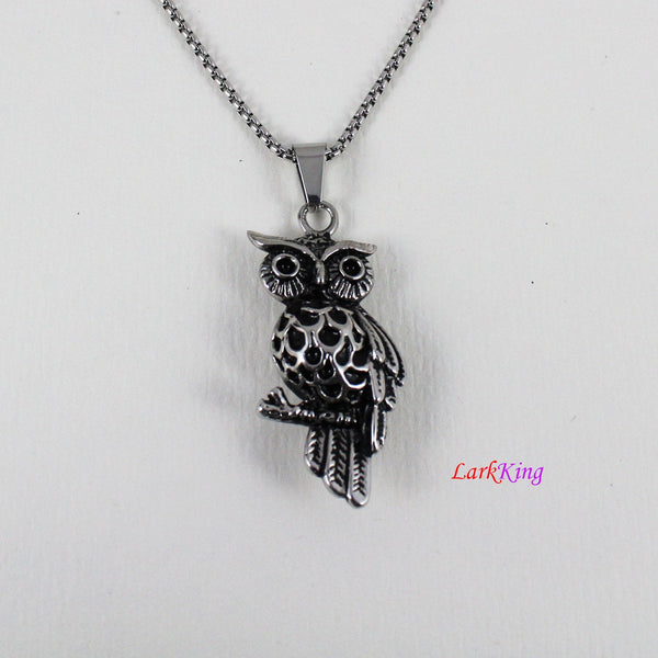 Owl necklace, animal necklace, owl pendant, stainless steel, owl head necklace, unique owl necklace, popular owl necklace, NE7008