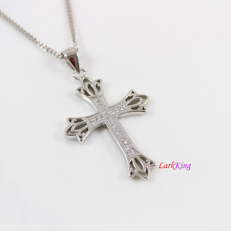 Sterling silver cross necklace, necklace cross, crown cross pendant, religious cross, christian gift, cross for men, cross for women, NE8359