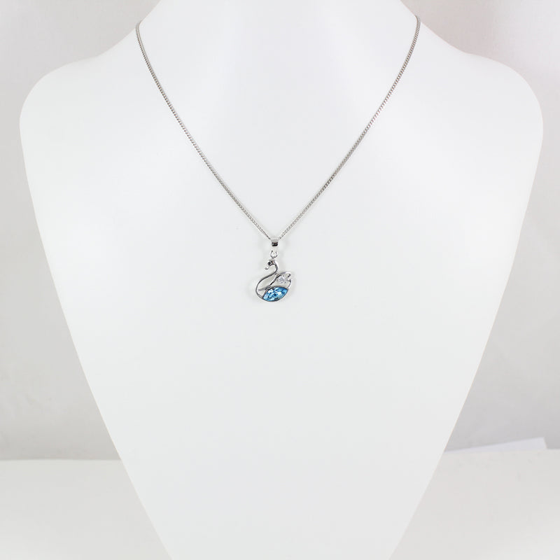 Sterling silver swan necklace, light blue swarovski pendant necklace, silver swarovski necklace, bridal necklace, anniversary gift, LK11029