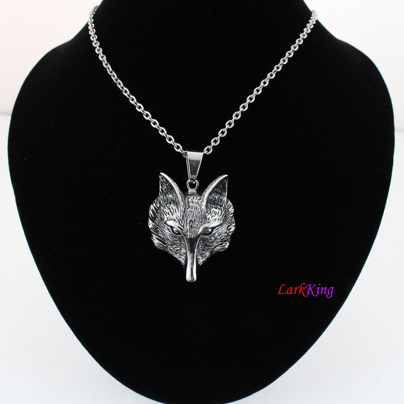 Fox necklace, animal necklace, stainless steel, fox head necklace, fox pendant, unique fox necklace, popular fox necklace, NE7002