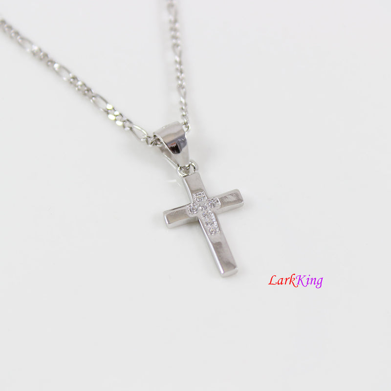 Tiny cross necklace, sterling silver cross necklace, double cross pendant, cross necklace girl, cross for boy, christian jewelry,  NE8433