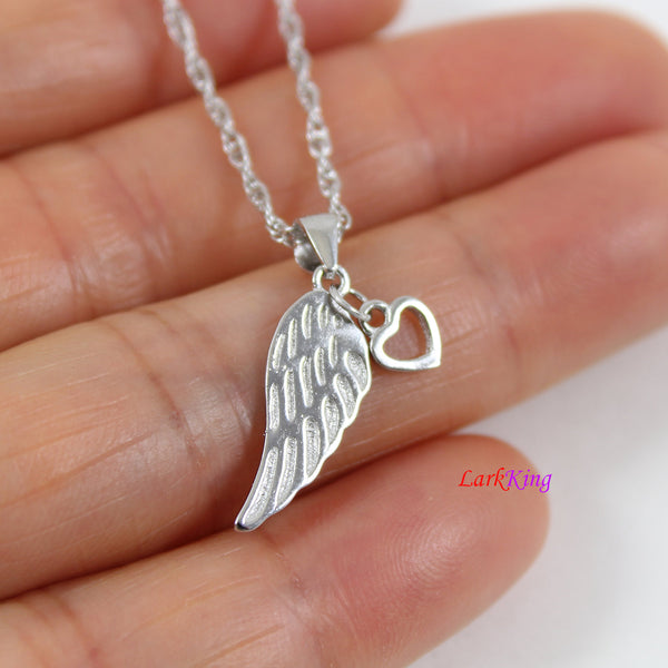 Sterling silver wing necklace, wing with heart necklace, angel wing necklace, heart necklace, love necklace, wing necklace for girl, LK8442