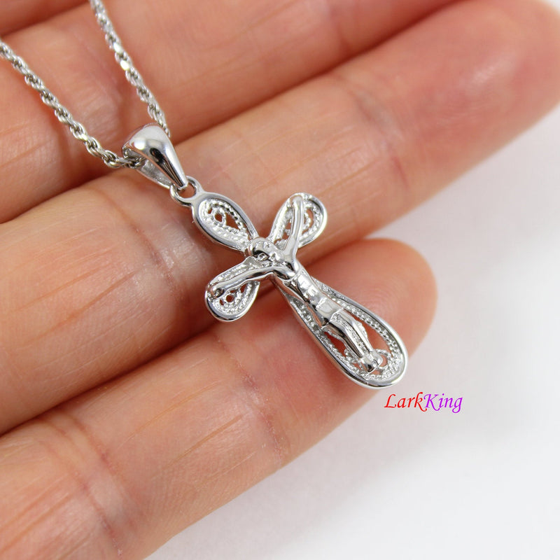 Sterling silver cross necklace, Jesus cross, crucifix cross, crucified cross, cross necklace women, cross gift, first communion gift, LK8446