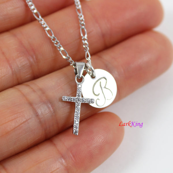 Sterling silver tiny cross necklace, personalized cross necklace, hand stamped initial cross necklace, first communion gift, LK8450