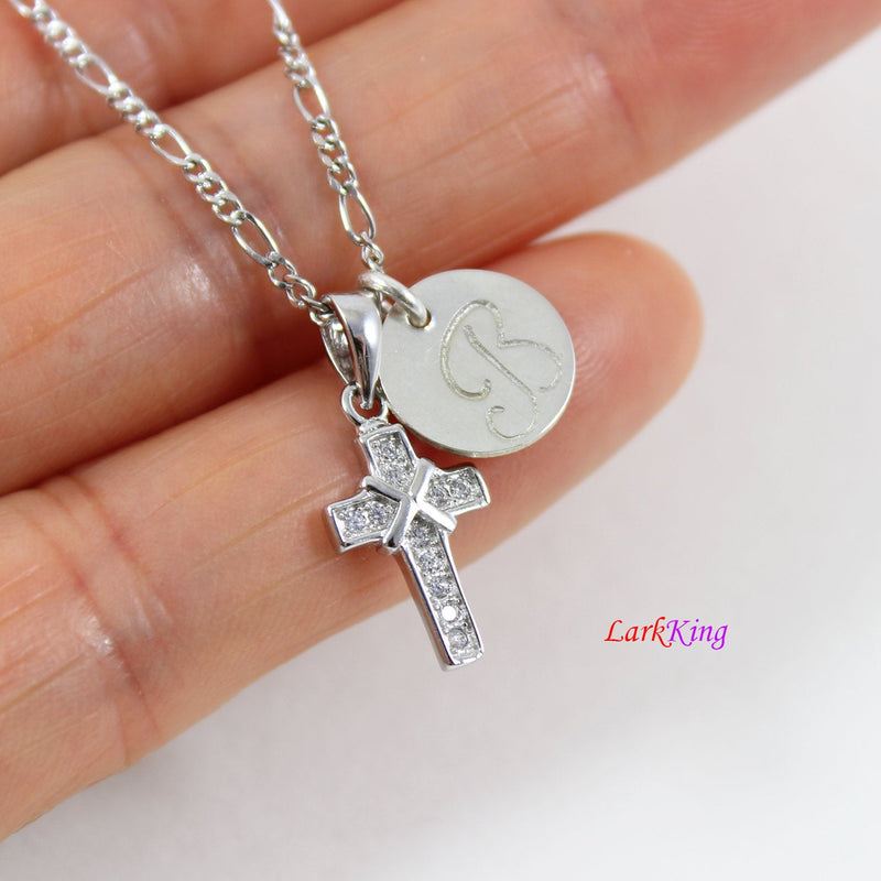 Sterling silver tiny cross necklace, personalized double cross necklace, hand stamped initial cross necklace, first communion gift, LK8452