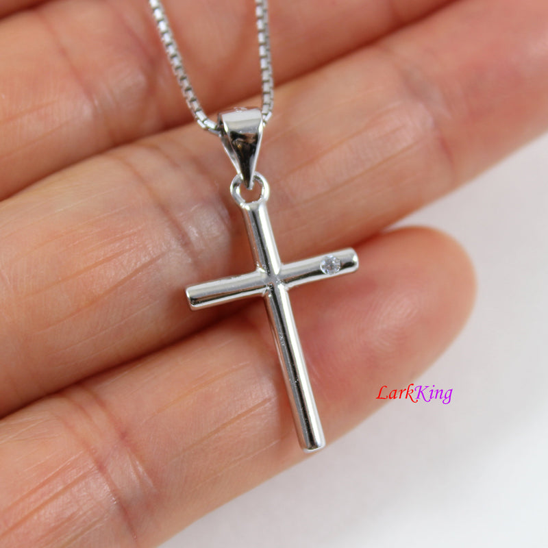 Sterling silver cross necklace, small cross necklace, simple cross pendant, cross for boy, religion necklace, first communion gift, NE8453