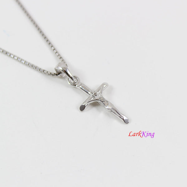Tiny silver cross necklace, Jesus cross, crucifix cross, cross necklace for boy, cross for girl, religion gift, first communion gift, LK8455