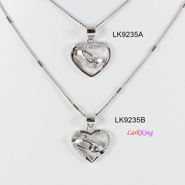 Sterling silver heart necklace, parent holding child hand necklace,mom and child necklace, dad and child necklace,love heart necklace,LK9235