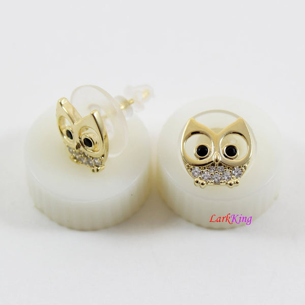 14 K gold filled sterling silver owl stud earrings, white and black CZ owl studs, silver stud earrings for girl, earrings for women, LK15005