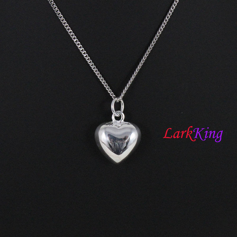 Sterling silver heart necklace, personalized initial heart necklace, monogram necklace, unique heart pendant,  stamped necklace, PN15