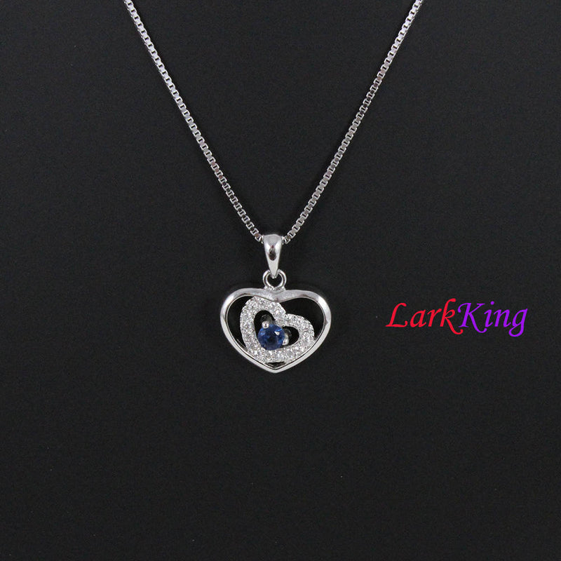 Sterling silver gemstone heart necklace, personalized necklace, double heart necklace, hand stamp necklace, monogram necklace, LarkKing PN12