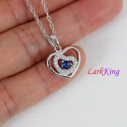 Sterling silver heart necklace, blue and white gemstone heart pendant, double heart necklace, zircon heart necklace, Larkking LK9203