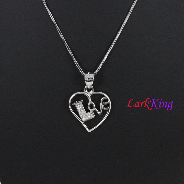 Sterling silver heart necklace, love necklace, love heart necklace, unique heart pendant, heart necklace women, gift for her, LK9216