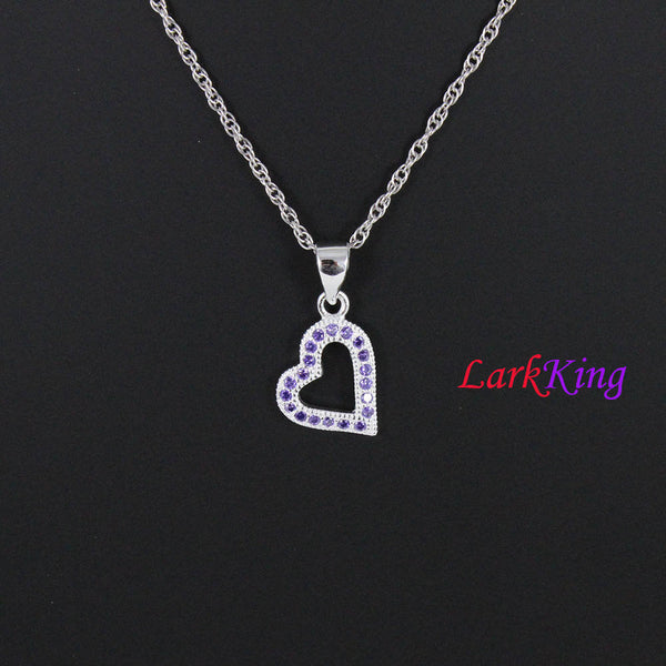 Sterling silver heart necklace, zircon crystal heart pendant, heart necklace women, heart for girl, fine jewelry, valentine's gift, LK9212