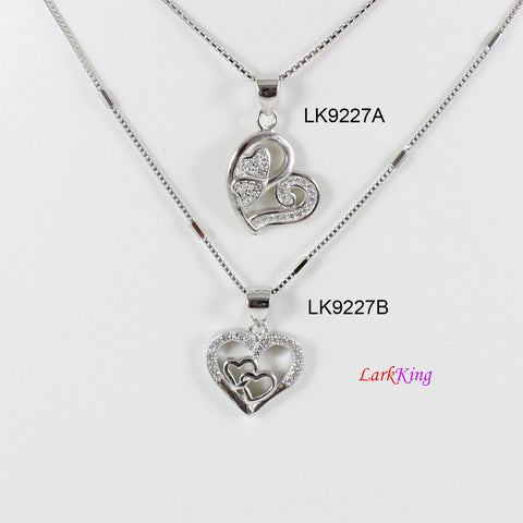 Sterling silver heart necklace,mother and daughters necklace,triple heart necklace,heart necklace for mom,mother's day gift, Larkking LK9227