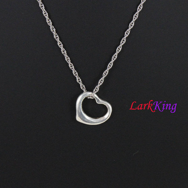 Sterling silver heart necklace, simple heart necklace, unique heart pendant, best friend necklace, valentine gift, Larkking LK9217
