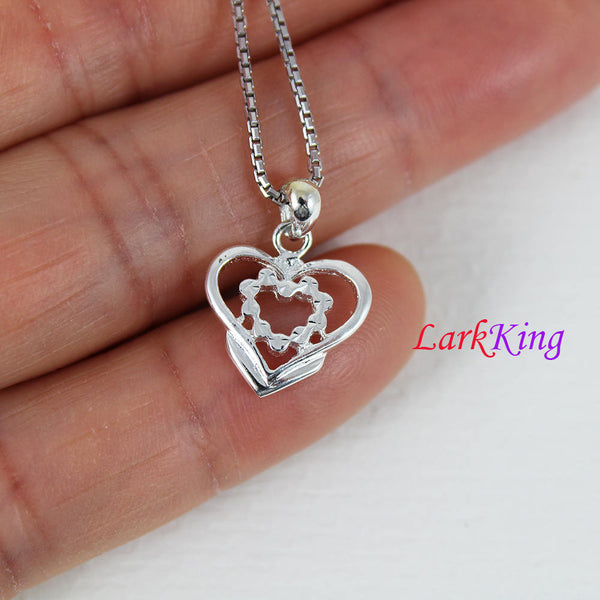 Sterling silver heart necklace, unique heart pendant, heart necklace women, heart necklace men, fine jewelry, valentine's gift, LK9209