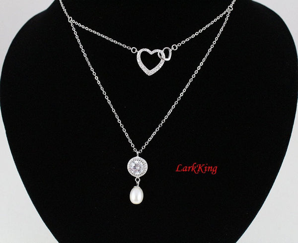 Double layers sterling silver heart necklace,pearl necklace,double heart necklace,mother and daughter necklace,mother day gift, NE8261