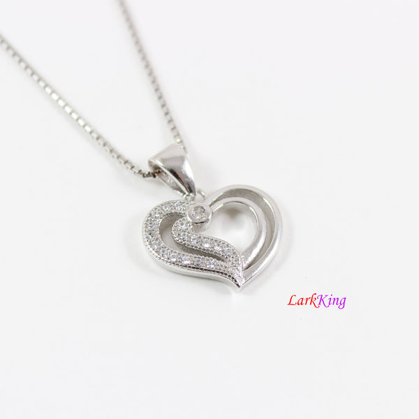 Sterling silver heart necklace,mother and daughter necklace,double heart necklace for mom and daughter,heart necklace women,Larkking  LK9251