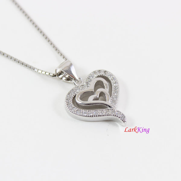 Sterling silver heart necklace,generations necklace for grandma and mom,thick triple heart pendant,silver heart necklace for women, LK9247