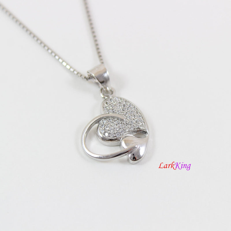 Sterling silver heart necklace,mother and daughter necklace,double heart necklace,silver heart necklace women, mothers day gift,  LK9240