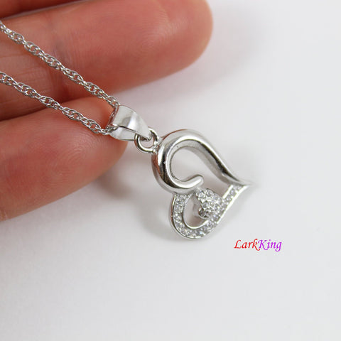Sterling silver heart necklace,mother and daughter necklace,double hearts necklace for mom and daughter,mother's day gift,Larkking  LK9231