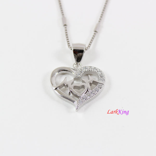 Sterling silver mom necklace,heart necklace,mother day gift,love mom necklace,mom valentine gift,heart necklace for mom, Larkking LK9249