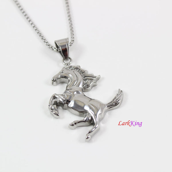 Stainless steel horse necklace, animal necklace, nature necklace, racing horse pendant, men necklace, horse necklace for boy, LK7122