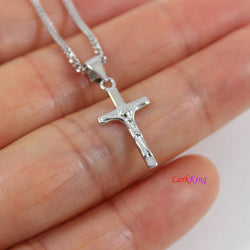 Tiny silver cross necklace, Jesus cross, crucifix cross, cross necklace for boy, cross for girl, Christian gift, first communion gift,LK8448