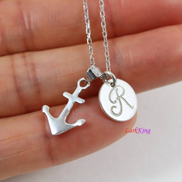Tiny sterling silver anchor necklace; personalized necklace; initial necklace; girls necklace; boys necklace; cute anchor charm; NE8414