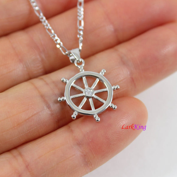 Sterling silver ship's wheel necklace, nautical necklace, sailor necklace, small wheel necklace, boys necklace, graduation gift, NE8445