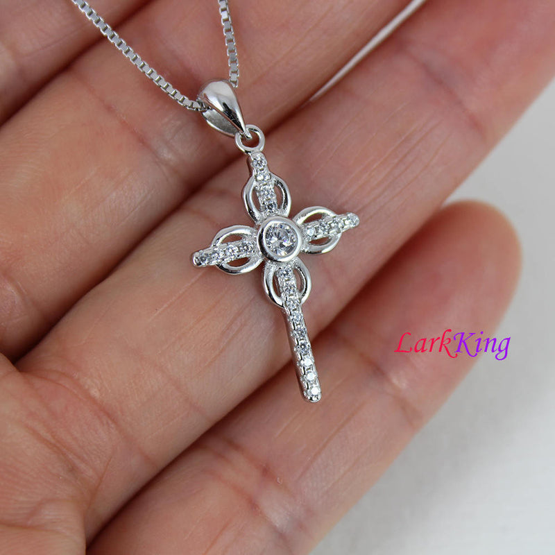Cross necklace, sterling silver cross necklace, flower cross necklace, religious necklace, girl cross necklace, baptism gift, cross, NE8326