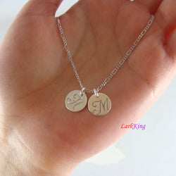 Sterling silver monogram necklace, personalized necklace, initial necklace, hand stamped initial necklace, small initial necklace, NE8005