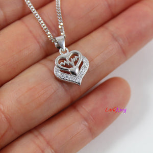 Sterling silver heart necklace,heart beat necklace,multiple heart necklace,mother and daughter necklace,heart necklace women,Larkking LK9218