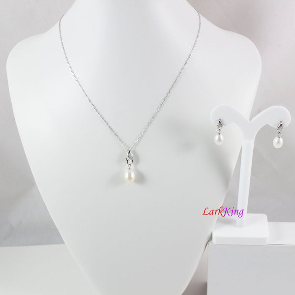 Sterling silver pearl necklace and earring set, pearl necklace, pearl earrings, bridal necklace set, dolphin necklace set, LK10012