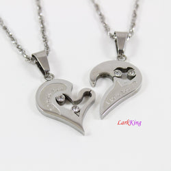 Couples heart necklace, couples necklaces, stainless steel heart necklace, love necklace, I love you necklace,  friendship necklace, NE6610