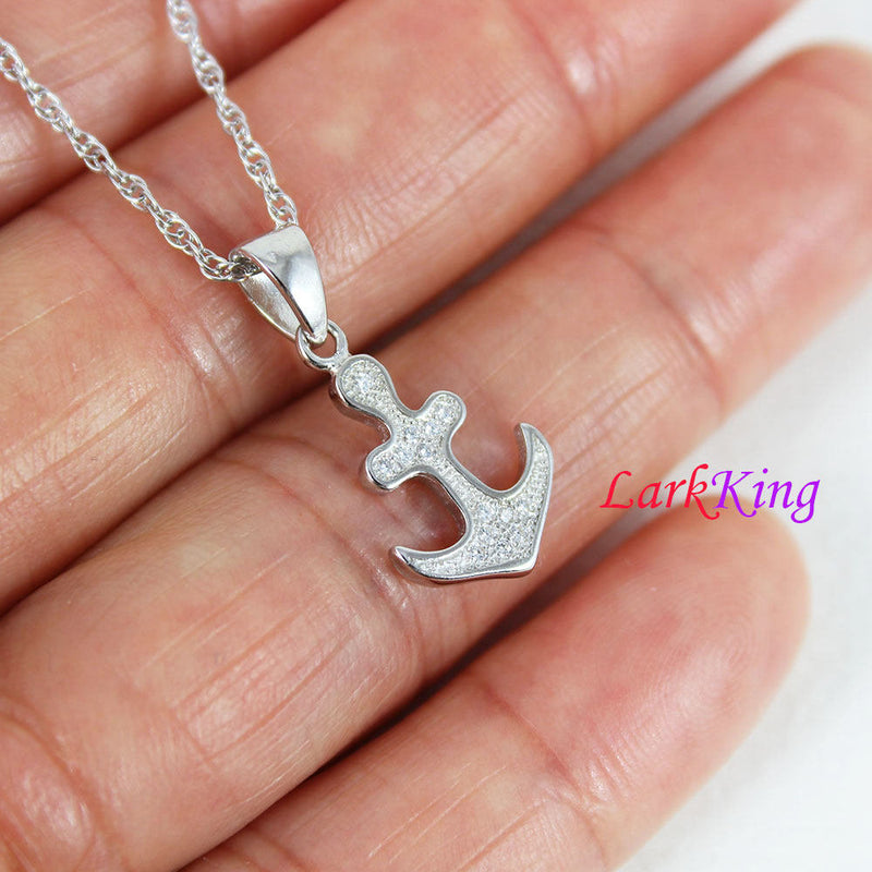 Sterling silver cross anchor necklace, sailor necklace, small anchor necklace, girls anchor, boys anchor, best friend necklace, NE8428