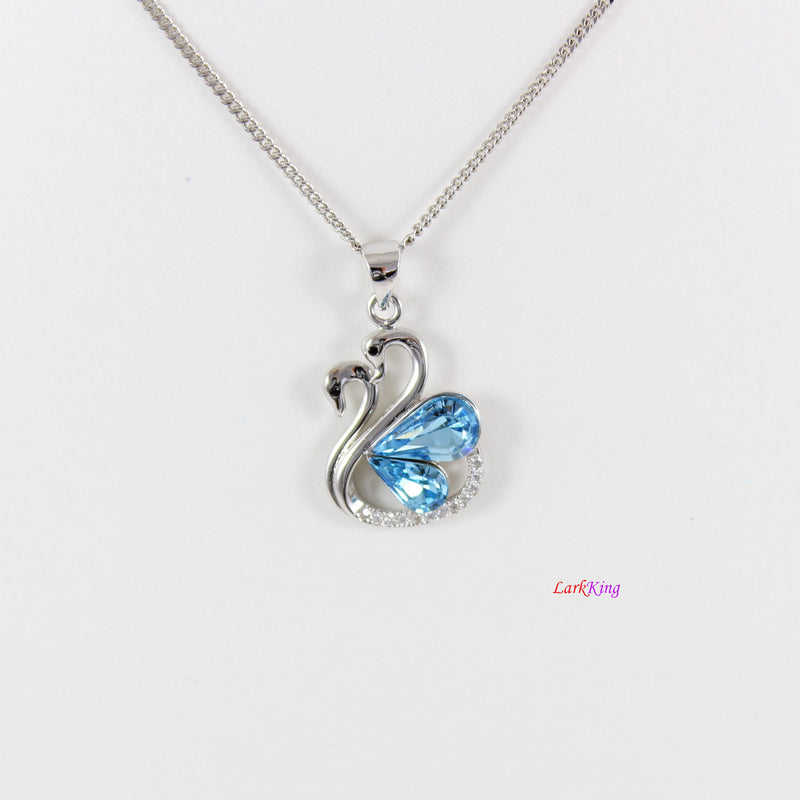 Sterling silver swan couple necklace, light blue swarovski crystal necklace, bridal necklace, swan necklace, anniversary gift, LK11034