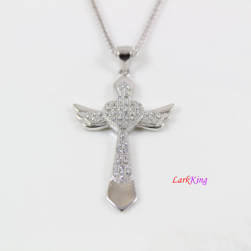 Sterling silver large cross necklace, cross heart necklace, wings necklace, wing cross pendant, christian gift, christian cross, NE8309