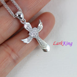 Sterling silver cross necklace,  angel wings cross, cross heart necklace, small cross necklace, christian necklace, christian cross, NE8301