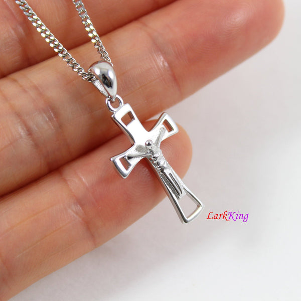 Small silver cross necklace, Jesus cross, crucifix cross, cross necklace boy, cross for girl, Christian gift, first communion gift, LK8458